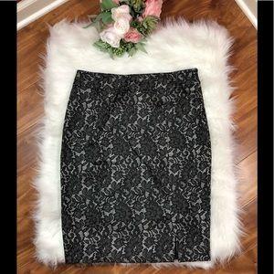 Worthington Black Lace Pencil Skirt Lined